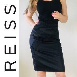 REISS Black Satin Cross Pencil Skirt Back Slit 4